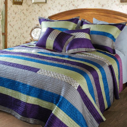 Dada Bedding Dxj106227 Stripe Satiny Polyester Patchwork 5-Piece Quilt Set, King, Purple front-986568