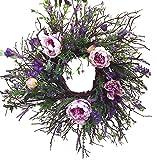 """32"""" Unique Combination Natural/Silk Manzanita Branch Wreath, Lavender, Peony"""