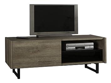 Mueble para televisión con cajón y 1 puerta corredera color roble norteamericano lacado claro y negro brillante