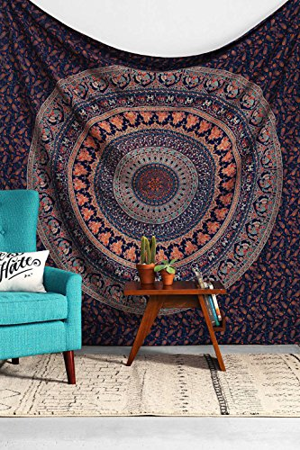 Handicrunch Indian Elephant Peacock Mandala Tapestry ,Indian...