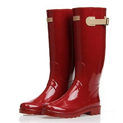 Zlyc Women's Knee High Rain Boots Galoshes 6