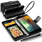 N+ INDIA Rich Leather Stand Wallet Flip Case Cover Book Pouch / Quality Slip Pouch / Soft Phone Bag (Specially Manufactured - Premium Quality) Antique Leather Case With Big Touch Stylus Pen Black For VIVO V5 / VIVO V5s