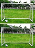 PAIR OF KIDS JUNIOR 12FT X 6FT WHITE FOOTBALL GOALS INC NET