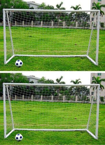 2 x Kinder-Fußballtor - 3,65 x 1,83 m - inkl. Netz - Kunststoff weiß - tragbar