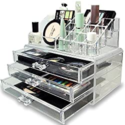Inditradition Cosmetic & Make Up Organizer Cum Storage Box (Big Size With Multiple Shelves) / Store All Variety At Single Place / Acrylic - Transparent / Ideal For Dressing Table