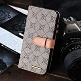 RAYTOP Luxury Classic Beige GG Patterned Leather Cases for Apple iPhone 6 / 6s 4.7 Flip Covers Wallet Kickstand Men Women Girls High Quality Vintage Retro Chic Style