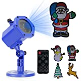 Christmas Projector Light, FVTLED Animated Projector Decorative Lighting with 6 Slides Remote Control for Christmas Xmas Theme Party Home Yard Garden (Color: Led Projector Light)