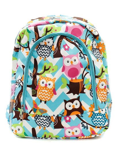 Owl Chevron Stripe Large Canvas Backpack Handbag (AQUA BLUE)