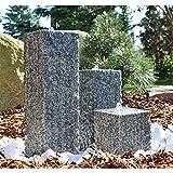CLGarden Granit Springbrunnen SB2 - 3 teiliger Säulenbrunnen Steinbrunnen Wasserspiel