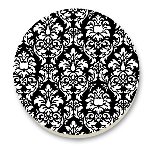 CounterArt Black and White Damask Round Stone Trivet, 6-Inch