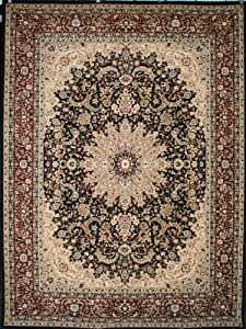 Black traditional isfahan wool persian area for Traditional kitchen rugs
