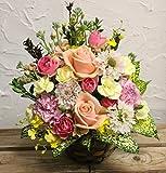 お祝いおまかせアレンジ(M)  生花のアレンジメントです 午前中のご注文で翌日配達可能です お届け日指定可