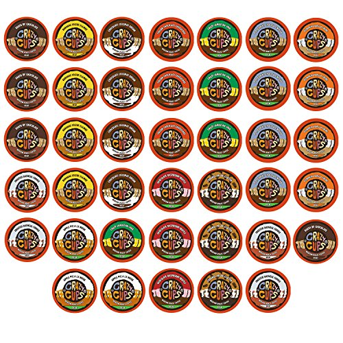 Crazy Cups Decaf Flavored Coffee, Variety Pack Sampler, Single Serve Cups for the Keurig K Cup Brewer, 40 count (Crazy Flavored Coffee K Cups compare prices)