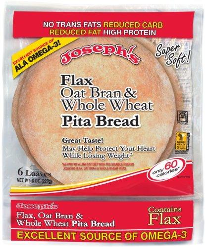 Joseph's Flax, Oat Bran and Whole Wheat Flour Pita Bread 6 loaves (8 oz) (Pita Bread Wheat compare prices)