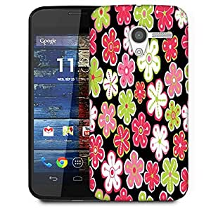 Snoogg Colorful Flowers Black Pattern Designer Protective Phone Back Case Cover For Moto X / Motorola X