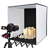 SAMTIAN Photo Box, 24x24 Inches Professional Light Box Shooting Tent Table Top Photography Lighting Kit Foldable Cube with 5 Tripods 4 LED Ring Lights 4 Backdrops and Cell Phone Holder for Photography (Color: K60II, Tamaño: 24 inches)
