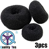 QY 3PCS Hair Mesh Chignon Donut To Make Hair Bun, Small Medium And Large Size