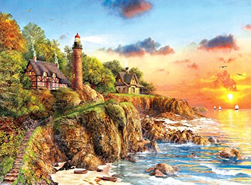 SunsOut Sunset at Craggy Point - Lighthouse Beach Scene Puzzle - 1000 Piece Jigsaw Puzzle