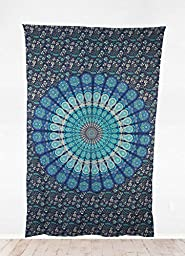 Inlakesh Mandala Tapestry (NEW 2015) 100% Cotton - For your Wall, Bedroom, Beach Throw, Meditation, Dorm Hanging - Style: Indian Buddhist Tibetan (bondi blue) by Inlakesh Products