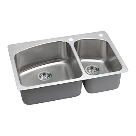 Elkay DPXSR2250R0 18 Gauge Stainless Steel Double Bowl Dual/Universal Mount Kitchen Sink, 33 x 22 x 8""