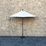 EasyGo - 9' Half Umbrella 200g Polyester Patio Outdoor Awning Hut Parasol with Crank 5 Steel Ribs Aluminum Pole - Beige