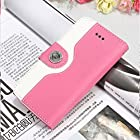 myLife (TM) Cotton Candy Pink + Bright White {Modern Design} Faux Leather (Card, Cash and ID Holder + Magnetic Closing + Hand Strap) Slim Wallet for the iPhone 5C Smartphone by Apple (External Textured Synthetic Leather with Magnetic Clip + Internal Secure Snap In Hard Rubberized Bumper Holder)