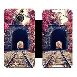 Skintice Designer Flip Cover with Vinyl wrap-around for Motorola Moto X 2nd gen, Design - Train Track
