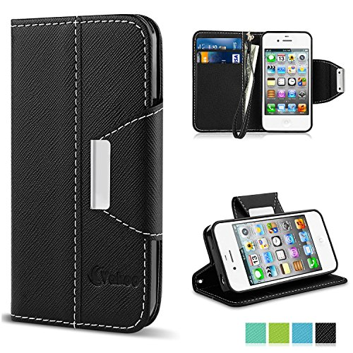 Cover iPhone 4, Vakoo Custodia Stile Libro Cover Premium Custodia in PU Pelle Flip Case Wallet Cover per iphone 4 / 4S, Nero