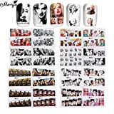 50 Sheets Nail Art Marilyn Monroe Hepburn Beauty Pattern Design Water Transfer Sticker Full Cover Watermark Decal Decors