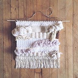 Woven wall hanging, textile art, fiber, neutrals, cream, natural, white, gift, home decor, decoration, scandinavian, weaving, tan, beige