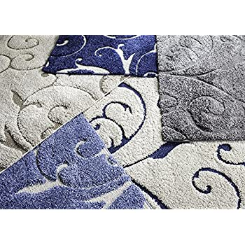 "Safavieh Florida Shag Collection SG455-6011 Scrolling Vine Light Blue and Cream Graceful Swirl Area Rug (53"" x 76"")"