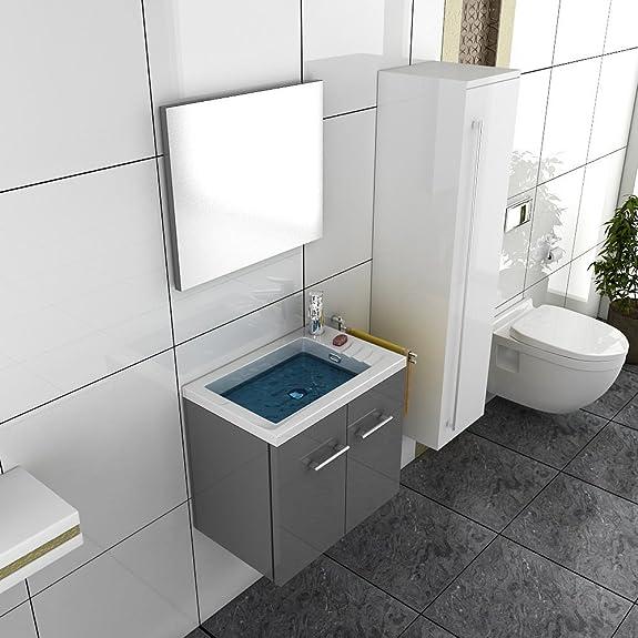 Lavabo con mobiletto grigio design Mobile Bagno Lavabo armadio a specchio