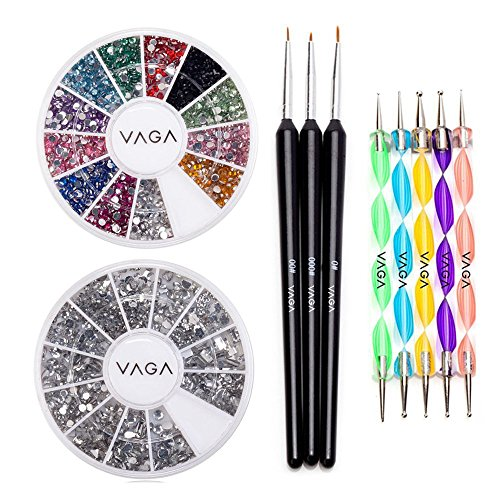 High-Quality-Professional-Nail-Art-Set-Kit-With-Pack-of-Silver-Gems-Rhinestones-Crystals-Premium-Manicure-12-Colors-Gemstones-Wheel-Fine-Detail-Wooden-Nailart-Brushes-and-Double-Ended-Dotting-Marbling