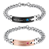 COAI His Beauty Her Beast Stainless Steel Matching Bracelets for Couple
