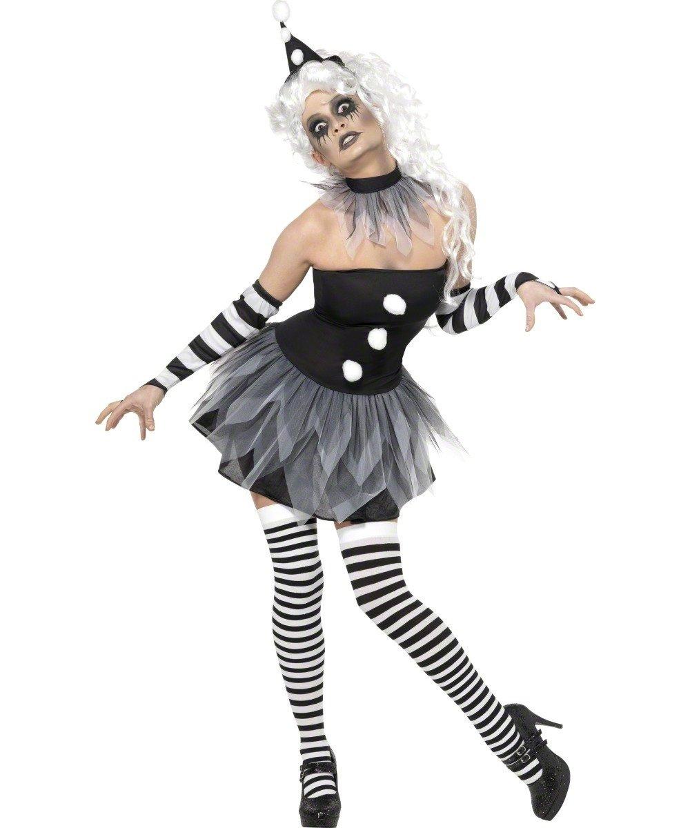 Schwarz Weiß Horror Clownkostüm Halloween
