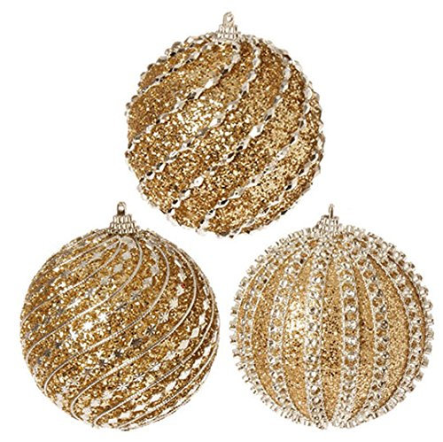 RAZ Imports - Gold Glittered Ball Ornaments 4