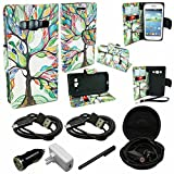 Mstechcorp - Samsung Galaxy Prevail LTE / Galaxy Core Prime Case (G360), FLIP Series Premium PU Leather Wallet [3 Pockets] Inner Flexible TPU Slim Fit Case for Samsung Galaxy Core Prime with Magnetic Flap - Includes + [Wall Charger Data Cable] + [Car Charger Data Cable] + [Touch Screen Stylus] + [2 Data Cables] + [Hands Free Earphone] (COLORFUL TREE)