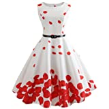 ShenPr Women's Hepburn Boatneck Sleeveless Floral Petal Print Slim Waist Cocktail Swing Dress Vintage Tea Dress with Belt (S, White) (Color: White, Tamaño: Small)