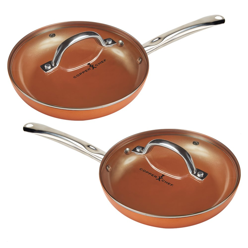 "Copper Chef 10"" Round Pan with Lid 2 Pack"