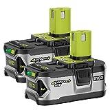 RYOBI P129 18V ONE+ High Capacity 4.0 Ah Battery (2-Pack) (Color: green, grey)