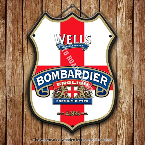 wells-bombardier-inglese-premium-birra-pubblicita-bar-vecchio-pub-bevande-pompa-distintivo-brewery-b