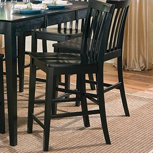 Coaster Contemporary Counter Height Stools, Black Wooden Finish, Set of 2, 24-Inch (Black Wood Bar Stools compare prices)