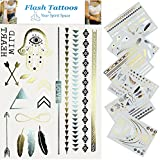 Your Spirit Space 6 Sheet Temporary Flash Bling Tattoos in Metallic Gold Silver and Black - High Quality Fashion Temporary Body Jewelry is the Best