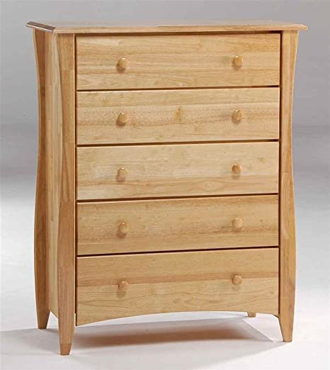 Natural Finish Chest of Five Drawers w Curved Legs
