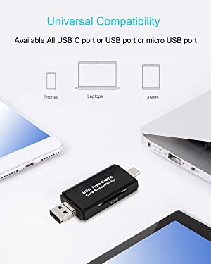 SD Card Reader, Micro SD/TF Compact Flash Card Reader with 3 in 1 USB Type C/Micro USB Male Adapter and OTG Function Portable Memory Card Reader for & PC & Laptop & Smart Phones & Tablets (Black) (Color: BLACK-3-IN-1)