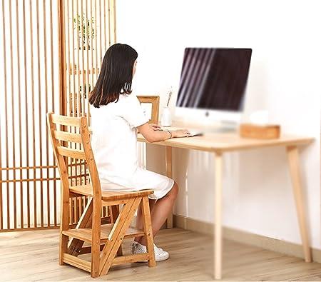 Escaleras de madera maciza Cámara Home Doblar Subir Escalera Escalera Multifunción Creative Escalera de silla de uso dual Bambú