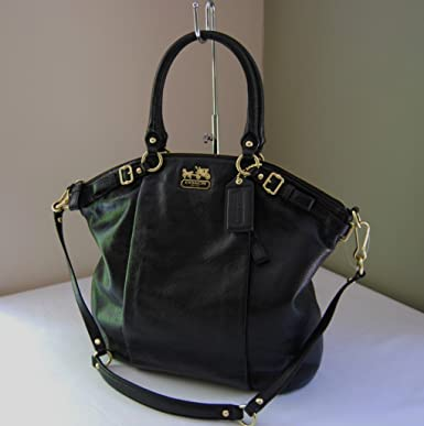 Coach Madison Black Leather Lindsey Convertible Shoulder Bag Tote 18641 43