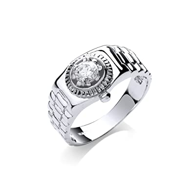9ct White Gold Gents Clear Stone Ring