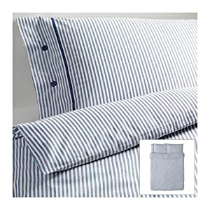 Ikea Nyponros Duvet Cover and Pillowcases, Full/queen, White/blue