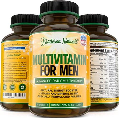 Multivitamin for Men with Vitamins A C D E & Vitamin B Complex + Zinc + Magnesium + Calcium + Selenium + Saw Palmetto and more. Cardiovascular & Prostate Health + Antioxidant & Natural Energizers. (Multivitamin Gel Caps compare prices)